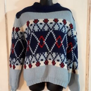 Vintage Chunky Knit Sweater, Camp, Cottage, Skiing